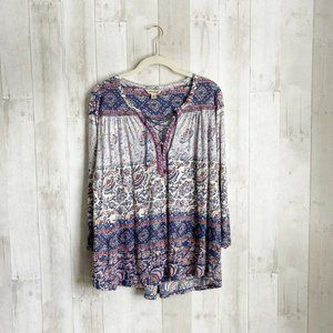 [Lucky Brand] Paisley Lace Up Boho Peasant Top